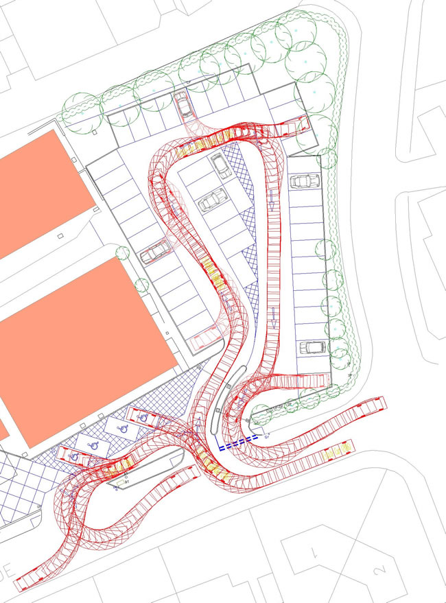 Swept Path Analysis of a Large Car Entering and Exiting Car Parking Spaces